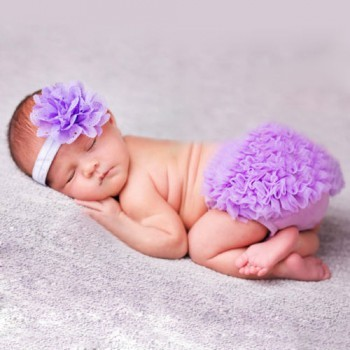 Purple Photo Prop Baby Girl Bloomer with Matching Headband
