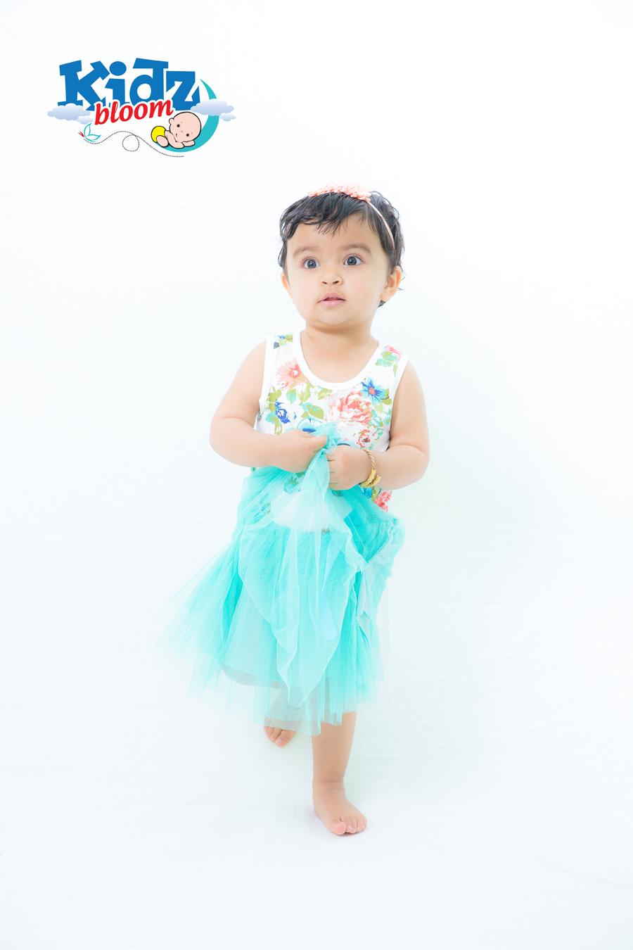 Baby Girl light blue floral Summer dress