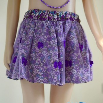 Purple Bowknot multicoloured layered skirt