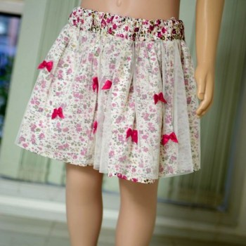 Rose red bowknot multicoloured layered skirt