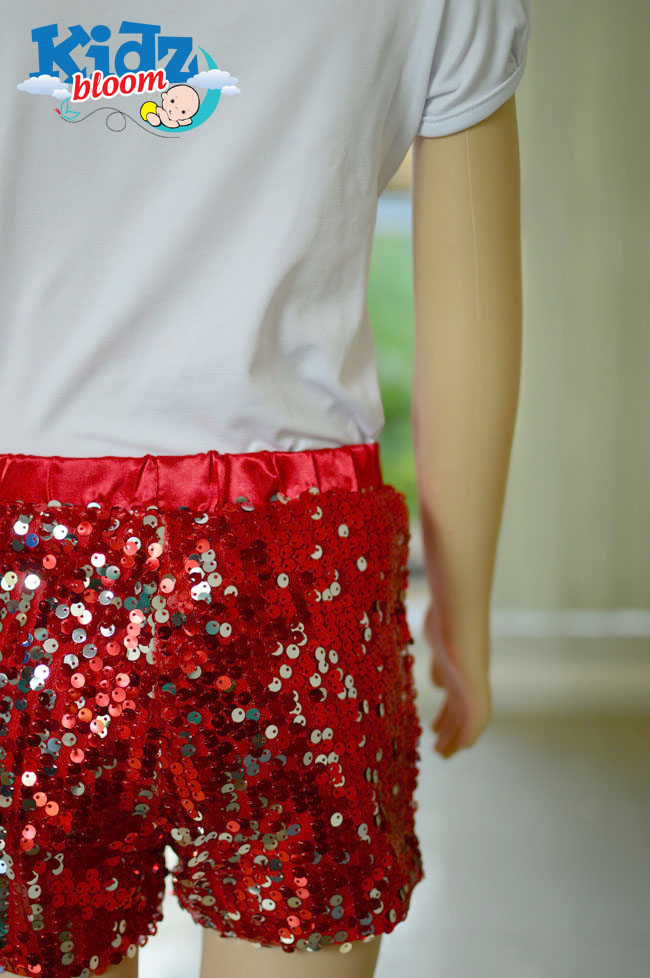 Red Baby Girl Cute Sequin Shorts Set