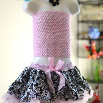 3pce Baby Girl cute flowery tutu skirt with black headband