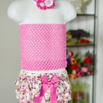 Baby Girl Flowery Bloomer With Crochet And Headband