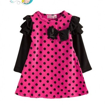 Rose bowknot baby girl one piece dress