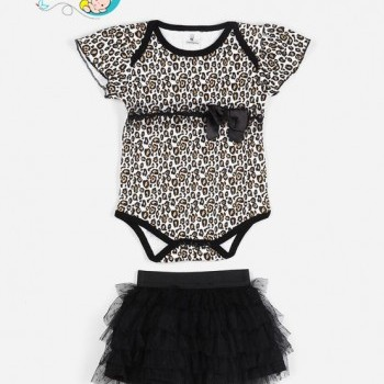Leopard Tutu Bodysuit Skirt Baby Girl Dress With Headband