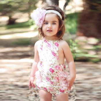 Baby Girl Rose backless sunsuit
