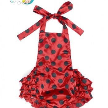 Baby Girl Red Dot Backless Baby Sunsuit