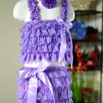 Purple Baby Girl Romper with Cute Headband and Footband