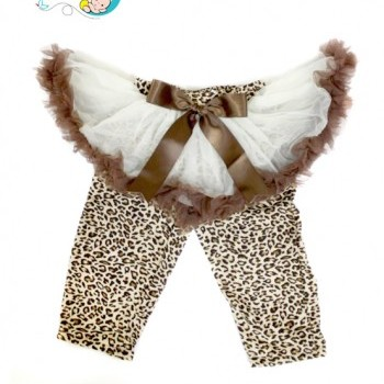 Baby Girl Creamy Brown Pettiskirt With Leopard Leggings
