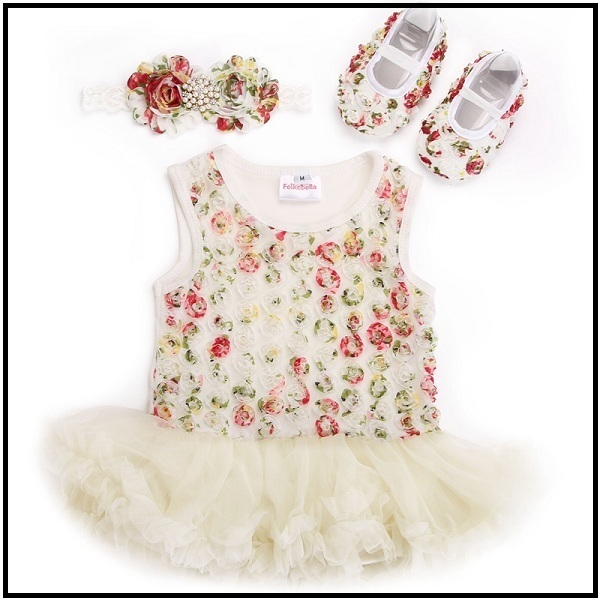 Beige tutu dress with shoes and matching headband