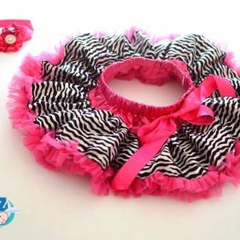Hot Pink Zebra Newborn Baby Girl Pettiskirt with Headband