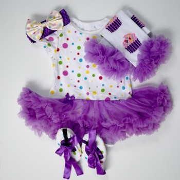 Bright Baby Girl Dress Set with leg warmer headband and shoes
