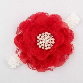 RED SINGLE FLOWER CRYSTAL BAND