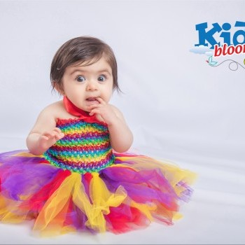Baby Girl Rainbow tulle with matching crochet tube top