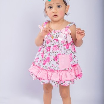 Light Pink Rose Baby Girl Fusion Swing Top wiith  Bloomer