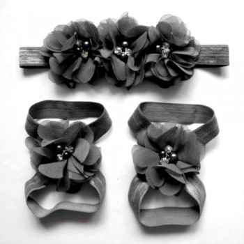 Black Flowery Headband and Footband Set