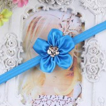 Blue One Flower Mini Headband