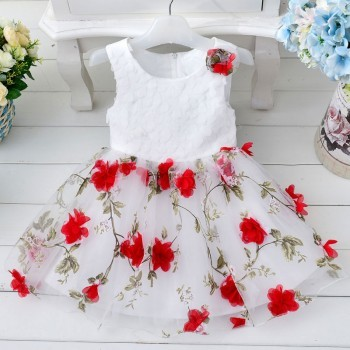 Bright red princess flowery dress