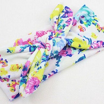 Floral Bowknot Cotton Headband