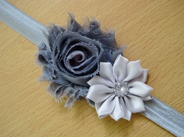 Greyish Pearl Rose Headband