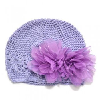Purple Flowery Crochet Beanie