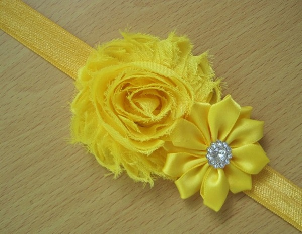 Yellow Pearl Rose Headband